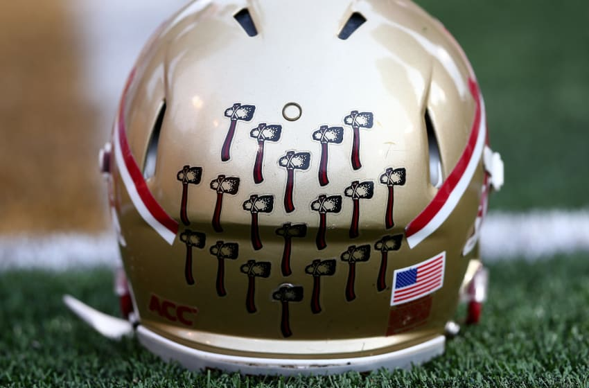WINSTON SALEM, NC - NOVEMBER 09: A detailed view of a helmet of the Florida State Seminoles during their game against the Wake Forest Demon Deacons at BB