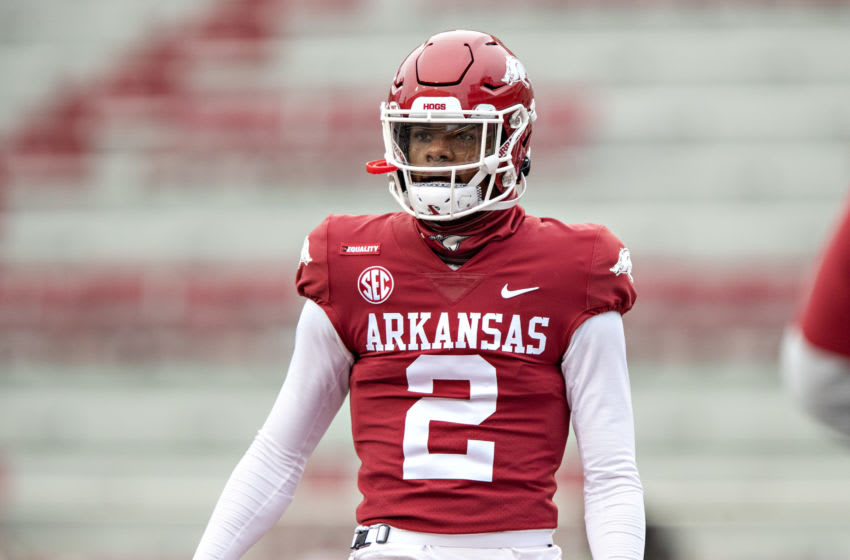 FAYETTEVILLE, AR - DECEMBER 12: Malik Hornsby #2 of the Arkansas Razorbacks warms up before a game against the Alabama Crimson Tide at Razorback Stadium on December 12, 2020 in Fayetteville, Arkansas. The Crimson Tide defeated the Razorbacks 52-3. (Photo by Wesley Hitt/Getty Images)