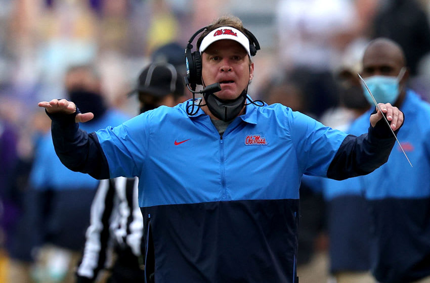 BATON ROUGE, LOUISIANA - DECEMBER 19: Head coach Lane Kiffin of the Mississippi Rebels reacts to a call during a game against the LSU Tigers at Tiger Stadium on December 19, 2020 in Baton Rouge, Louisiana. (Photo by Sean Gardner/Getty Images)