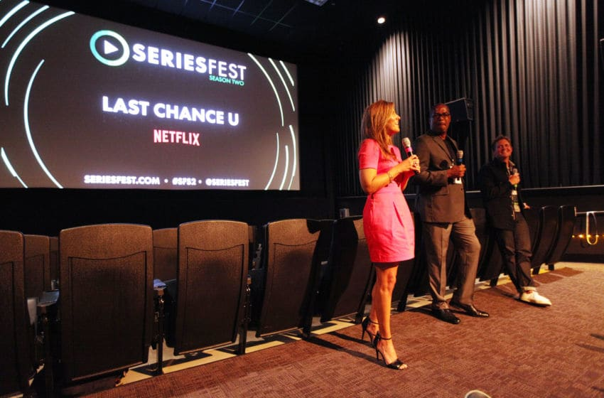 DENVER, CO - JUNE 24: (L-R) Brittany Wagner, Jerry Bembry, and Gregory Whiteley speak after the screening of Netflix's 'Last Chance U' during SeriesFest: Season Two at Sie FilmCenter on June 24, 2016 in Denver, Colorado. (Photo by Jason Bahr/Getty Images for SeriesFest)