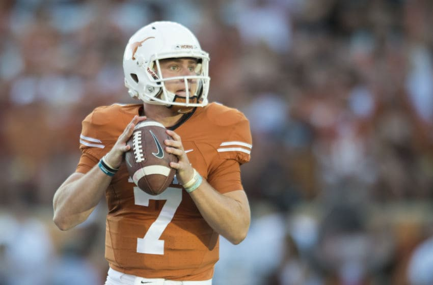 AUSTIN, TX - OCTOBER 15: Shane Buechele #7 of the Texas Longhorns drops back to pass against the Iowa State Cyclones during the first half on October 15, 2016 at Darrell K Royal-Texas Memorial Stadium in Austin, Texas. (Photo by Cooper Neill/Getty Images)