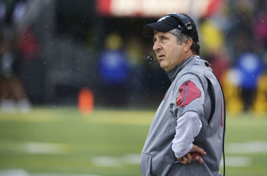 EUGENE, OR - OCTOBER 10: Head coach Mike Leach of the Washington State Cougars looks up at the video screen during the third quarter of the game against the Oregon Ducks at Autzen Stadium on October 10, 2015 in Eugene, Oregon. (Photo by Steve Dykes/Getty Images)