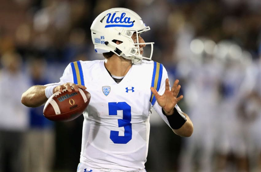PASADENA, CA - SEPTEMBER 30: Josh Rosen #3 of the UCLA Bruins looks to pass during the second half of a game against the Colorado Buffaloes at the Rose Bowl on September 30, 2017 in Pasadena, California. (Photo by Sean M. Haffey/Getty Images)