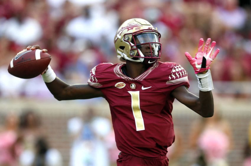 TALLAHASSEE OCTOBER 7: Quarterback James Blackman #1 of the Florida State Seminoles throws a pass during the second half of an NCAA football game against the Miami Hurricanes at Doak S. Campbell Stadium on October 7, 2017 in Tallahassee, Florida. (Photo by Butch Dill/Getty Images)