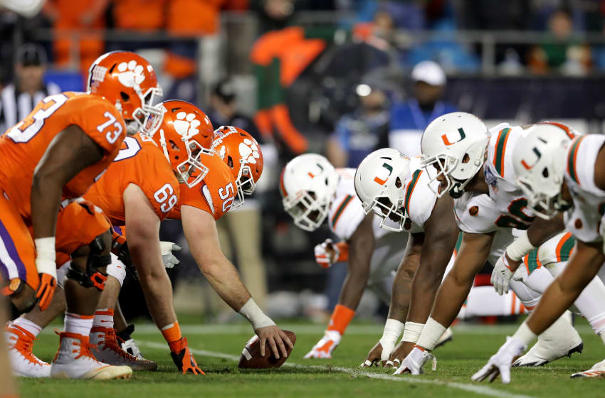 CHARLOTTE, NC - DECEMBER 02: The Clemson Tigers offense lines up against the Miami Hurricanes defense in the second quarter during the ACC Football Championship at Bank of America Stadium on December 2, 2017 in Charlotte, North Carolina. (Photo by Streeter Lecka/Getty Images)