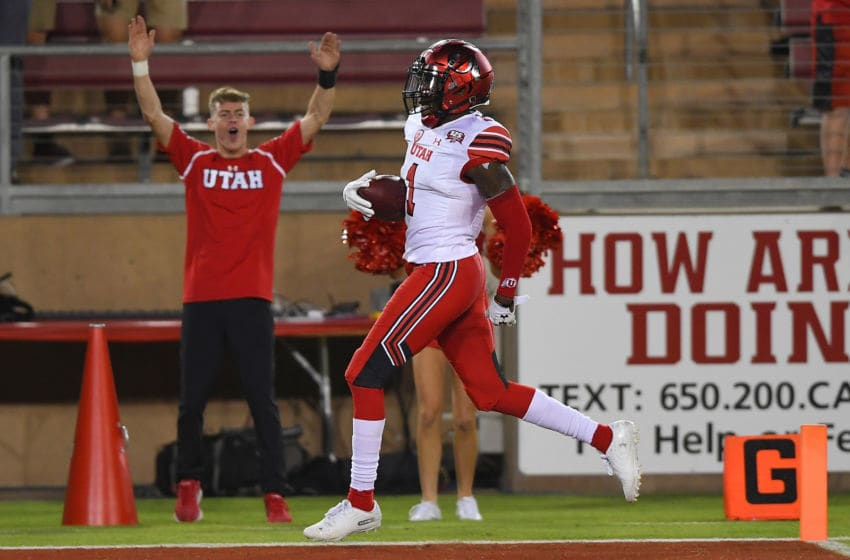 PALO ALTO, CA - OCTOBER 06: Jaylon Johnson #1 of the Utah Utes returns an interception 100 yards for a touchdown against the Stanford Cardinal during the second quarter of their NCAA football game at Stanford Stadium on October 6, 2018 in Palo Alto, California. (Photo by Thearon W. Henderson/Getty Images)