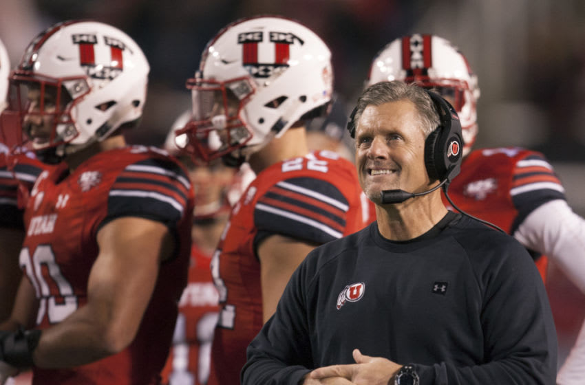 SALT LAKE CITY, UT- OCTOBER 12 : Head coach Kyle Whittingham of the Utah Utes smiles as he looks at the scoreboard during a time out against the Arizona Wildcats at Rice Eccles Stadium on October 12, 2018 in Salt Lake City , Utah. (Photo by Chris Gardner/Getty Images)