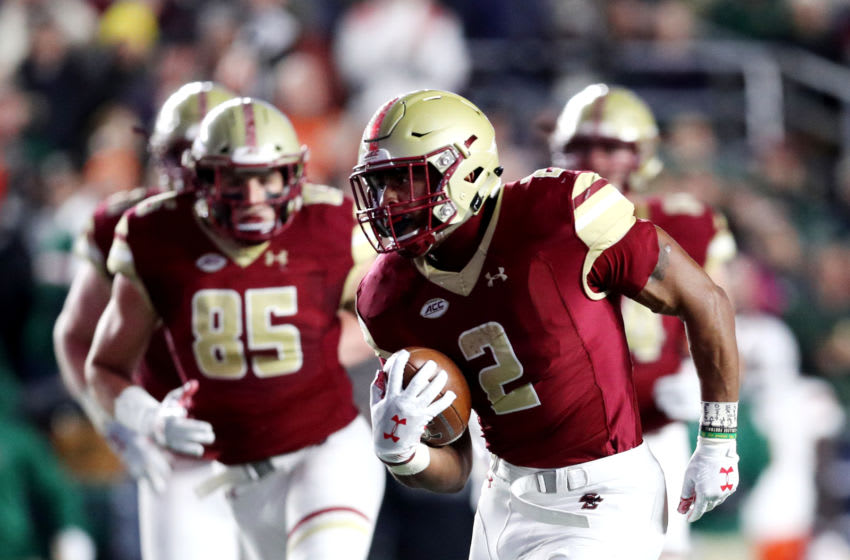 CHESTNUT HILL, MA - OCTOBER 26: AJ Dillon #2 of the Boston College Eagles runs with the ball against the Miami Hurricanes at Alumni Stadium on October 26, 2018 in Chestnut Hill, Massachusetts. (Photo by Maddie Meyer/Getty Images)