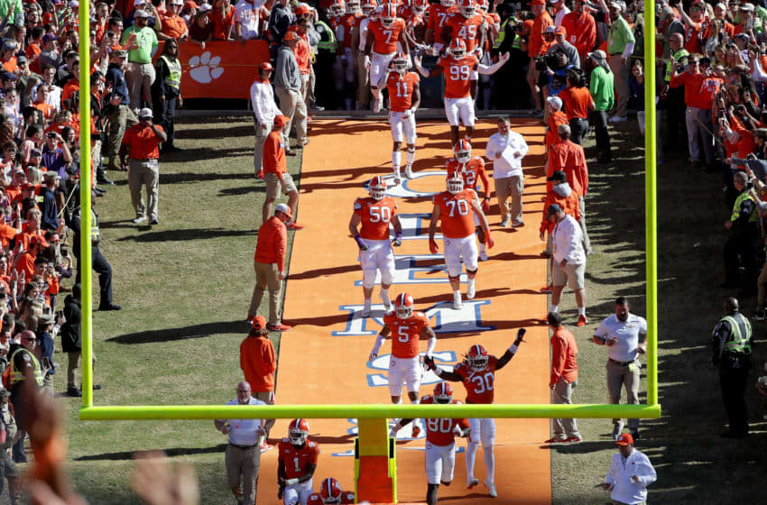 CLEMSON, SC - NOVEMBER 03: The Clemson Tigers run onto the field prior to their game against the Louisville Cardinals at Clemson Memorial Stadium on November 3, 2018 in Clemson, South Carolina. (Photo by Streeter Lecka/Getty Images)