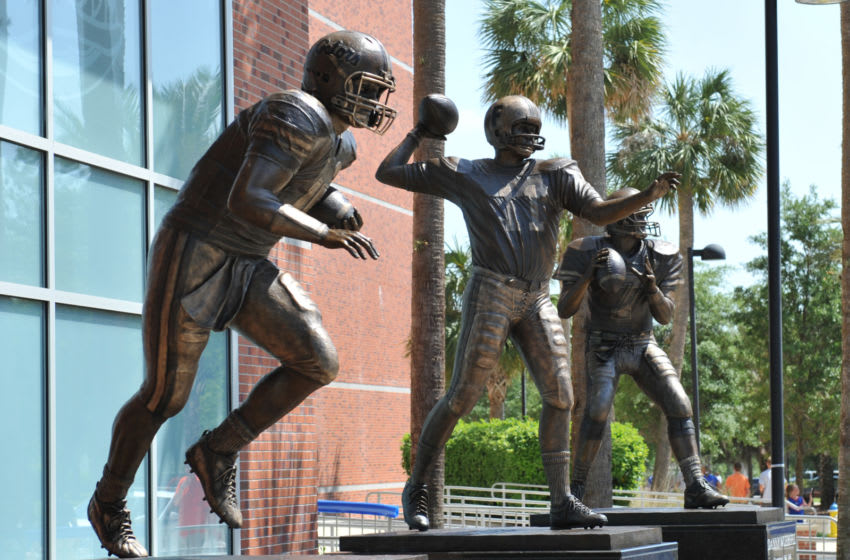 GAINESVILLE, FL - APRIL 9: Life-size statues of the Florida Gators three Heisman trophy winners - Tim Tebow, Danny Wuerffel and Steve Spurrier - are unveiled at halftime of the Orange and Blue spring football game April 9, 2011 Ben Hill Griffin Stadium at Gainesville, Florida. (Photo by Al Messerschmidt/Getty Images)