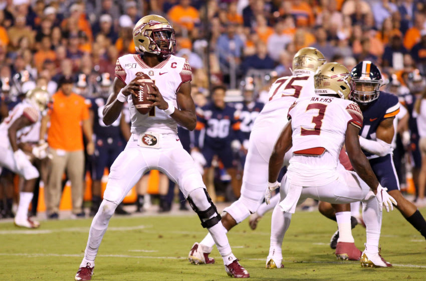 CHARLOTTESVILLE, VA - SEPTEMBER 14: James Blackman #1 of the Florida State Seminoles throws a pass in the first half during a game against the Virginia Cavaliers at Scott Stadium on September 14, 2019 in Charlottesville, Virginia. (Photo by Ryan M. Kelly/Getty Images)