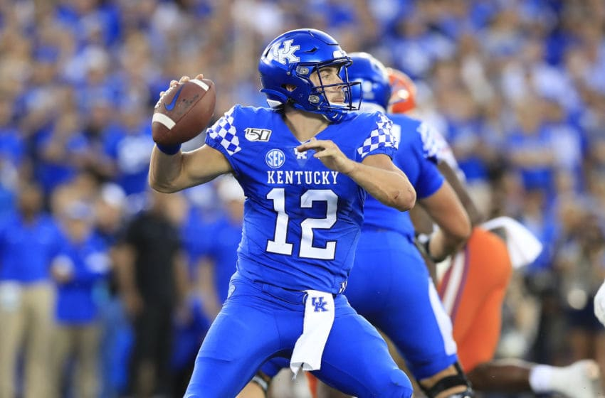 LEXINGTON, KENTUCKY - SEPTEMBER 14: Sawyer Smith #12 of the Kentucky Wildcats throws a pass against the Florida Gators at Commonwealth Stadium on September 14, 2019 in Lexington, Kentucky. (Photo by Andy Lyons/Getty Images)