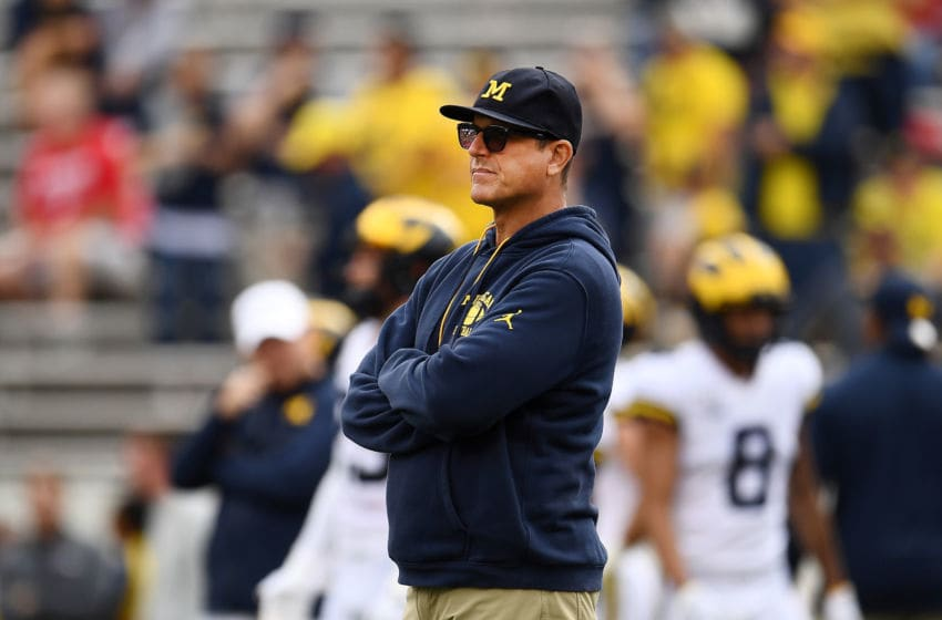 MADISON, WISCONSIN - SEPTEMBER 21: Head coach Jim Harbaugh of the Michigan Wolverines watches action prior to a game against the Wisconsin Badgers at Camp Randall Stadium on September 21, 2019 in Madison, Wisconsin. (Photo by Stacy Revere/Getty Images)