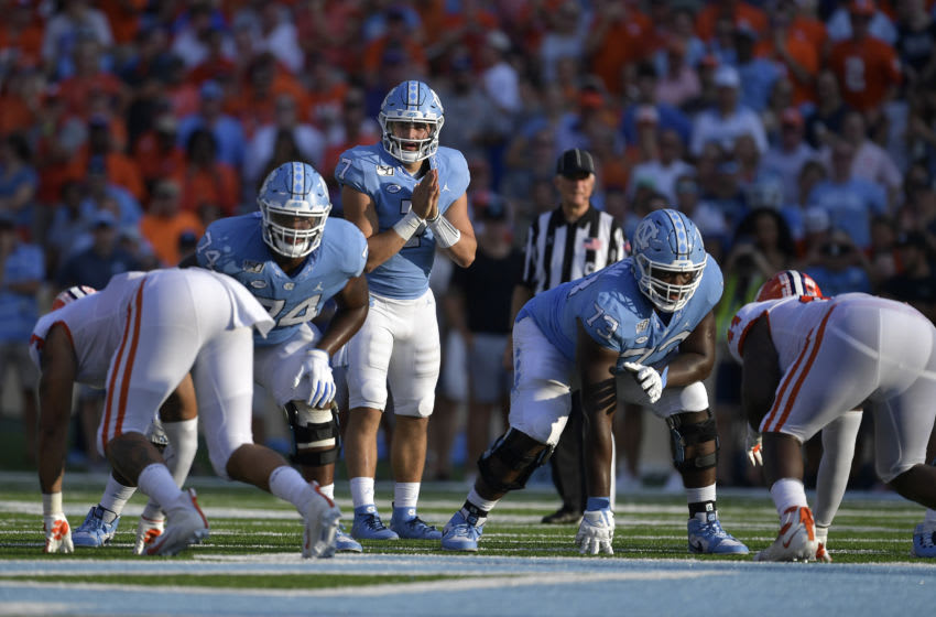 CHAPEL HILL, NORTH CAROLINA - SEPTEMBER 28: Sam Howell #7 of the North Carolina Tar Heels against the Clemson Tigers during their game at Kenan Stadium on September 28, 2019 in Chapel Hill, North Carolina. Clemson won 21-20. (Photo by Grant Halverson/Getty Images)