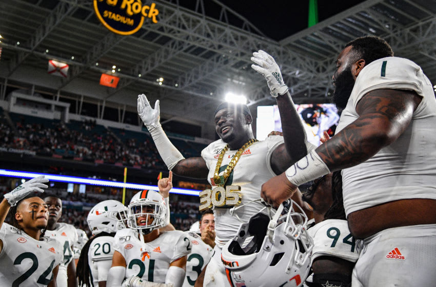 Avery Huff, Miami football (Photo by Mark Brown/Getty Images)