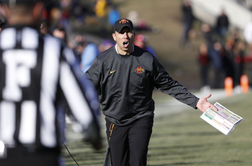 AMES, IA - NOVEMBER 23: Head coach Matt Campbell of the Iowa State Cyclones reacts to a call by the referee in the second half of play against the Kansas Jayhawks at Jack Trice Stadium on November 23, 2019 in Ames, Iowa. The Iowa State Cyclones won 41-31 over the Kansas Jayhawks. (Photo by David Purdy/Getty Images)