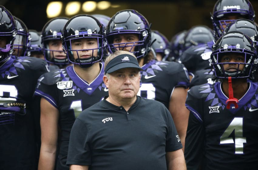 FORT WORTH, TX - NOVEMBER 29: Head coach Gary Patterson of the TCU Horned Frogs waits with players before being introduced before the game with the West Virginia Mountaineers at Amon G. Carter Stadium on November 29, 2019 in Fort Worth, Texas. West Virginia won 20-17. (Photo by Ron Jenkins/Getty Images)