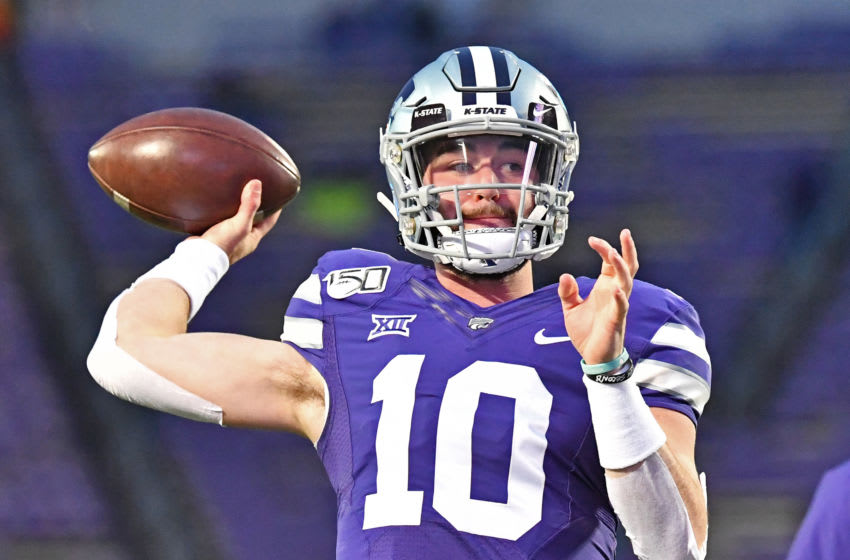 MANHATTAN, KS - NOVEMBER 30: Quarterback Skylar Thompson #10 of the Kansas State Wildcats throws a pass during pre-game workouts at Bill Snyder Family Football Stadium prior to a game against the Iowa State Cyclones on November 30, 2019 in Manhattan, Kansas. (Photo by Peter G. Aiken/Getty Images)