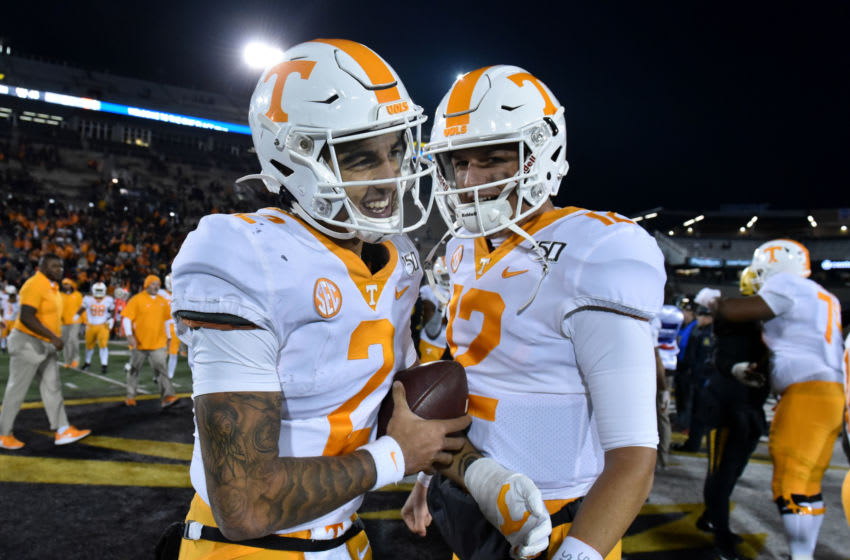 COLUMBIA, MISSOURI - NOVEMBER 23: Quarterback Jarrett Guarantano #2 and J.T. Shrout #12 of the Tennessee Volunteers celebrate their 24-20 win over the Missouri Tigers at Faurot Field/Memorial Stadium on November 23, 2019 in Columbia, Missouri. (Photo by Ed Zurga/Getty Images)