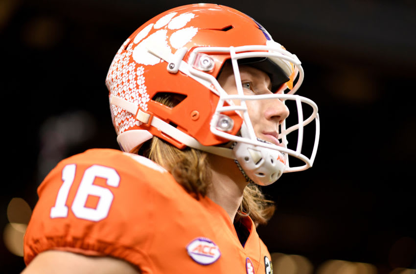 NEW ORLEANS, LOUISIANA - JANUARY 13: Trevor Lawrence #16 of the Clemson Tigers looks on prior to the College Football Playoff National Championship game against the LSU Tigers at Mercedes Benz Superdome on January 13, 2020 in New Orleans, Louisiana. (Photo by Chris Graythen/Getty Images)