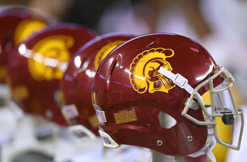 SANTA CLARA, CA - DECEMBER 05: A detailed view of USC Trojans football helmets sitting on the bench against the Stanford Cardinal during the third quarter of the NCAA Pac-12 Championship game at Levi's Stadium on December 5, 2015 in Santa Clara, California. (Photo by Thearon W. Henderson/Getty Images)