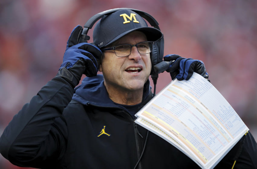 Head coach Jim Harbaugh of the Michigan Wolverines (Photo by Joe Robbins/Getty Images)
