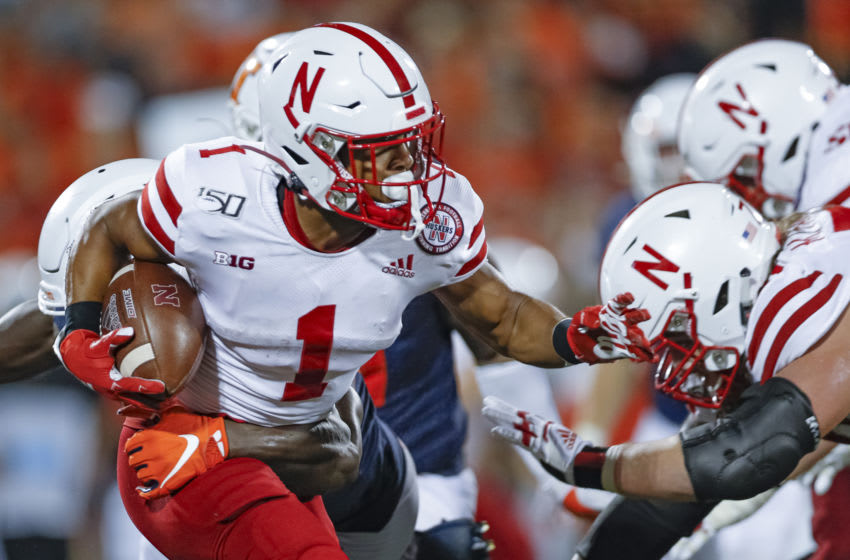 CHAMPAIGN, IL - SEPTEMBER 21: Wan'Dale Robinson #1 of the Nebraska Cornhuskers runs the ball during the game against the Illinois Fighting Illini at Memorial Stadium on September 21, 2019 in Champaign, Illinois. (Photo by Michael Hickey/Getty Images)