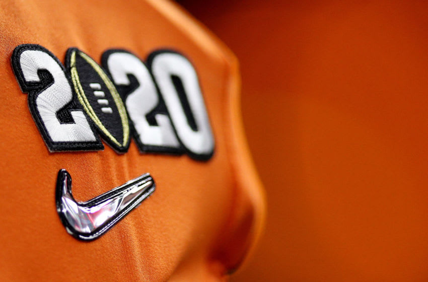 A detailed view of the 2020 College Football Playoff Logo (Photo by Chris Graythen/Getty Images)