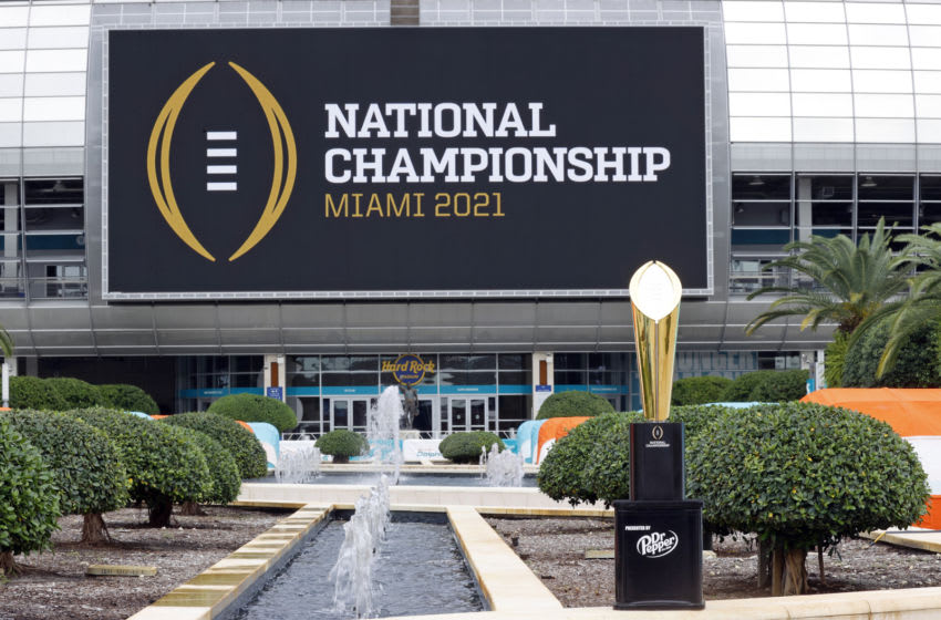 The College Football Playoff National Championship Trophy (Photo by Joel Auerbach/Getty Images)