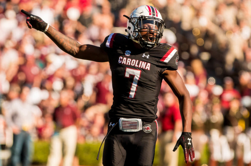 Oct 13, 2018; Columbia, SC, USA; South Carolina Gamecocks defensive back Jaycee Horn (7) celebrates a missed field goal by the Texas A&M Aggies in the second quarter at Williams-Brice Stadium. Mandatory Credit: Jeff Blake-USA TODAY Sports