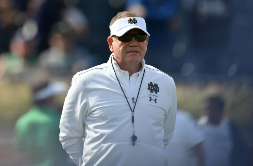 Oct 5, 2019; South Bend, IN, USA; Notre Dame Fighting Irish head coach Brian Kelly watches warmups before the game against the Bowling Green Falcons at Notre Dame Stadium. Mandatory Credit: Matt Cashore-USA TODAY Sports
