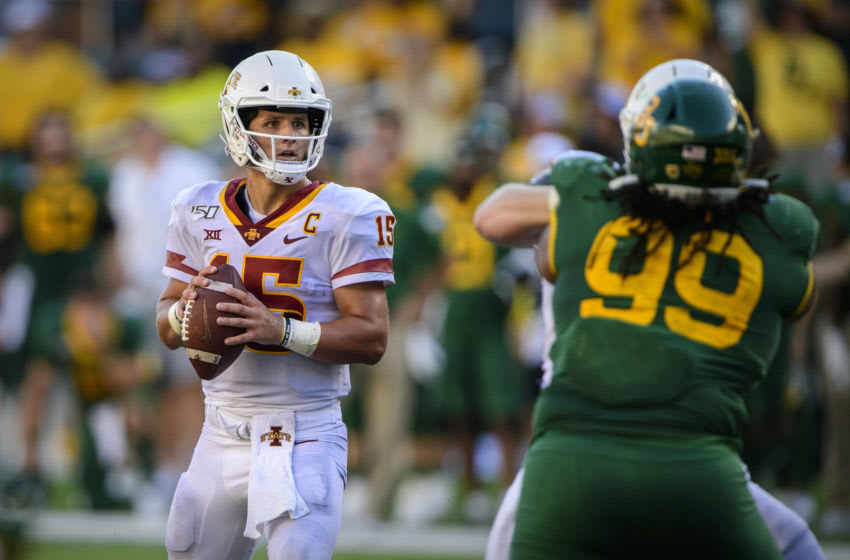 Sep 28, 2019; Waco, TX, USA; Iowa State Cyclones quarterback Brock Purdy (15) in action during the game between the Bears and the Cyclones at McLane Stadium. Mandatory Credit: Jerome Miron-USA TODAY Sports