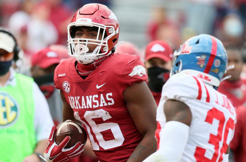 Treylon Burks, Arkansas football Mandatory Credit: Nelson Chenault-USA TODAY Sports