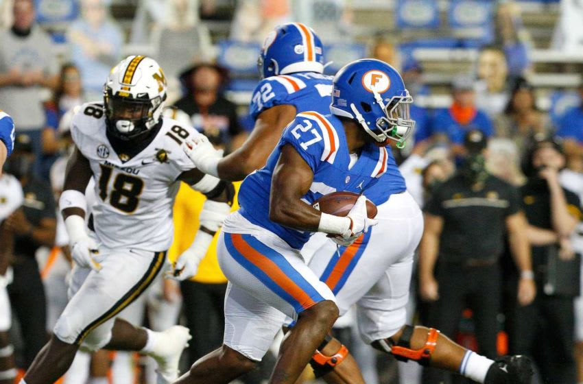 Oct 31, 2020; Gainesville, FL, USA; Florida Gators running back Dameon Pierce (27) runs with the ball during a game against the Missouri Tigers at Ben Hill Griffin Stadium in Gainesville, Fla. Oct. 31, 2020. Mandatory Credit: Brad McClenny-USA TODAY NETWORK
