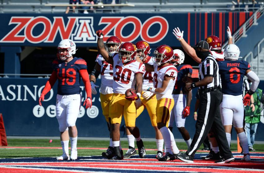 Nov 14, 2020; Tucson, Arizona, USA; USC Trojans running back Markese Stepp (30) celebrates a touchdown against the Arizona Wildcats during the first half at Arizona Stadium. Mandatory Credit: Joe Camporeale-USA TODAY Sports