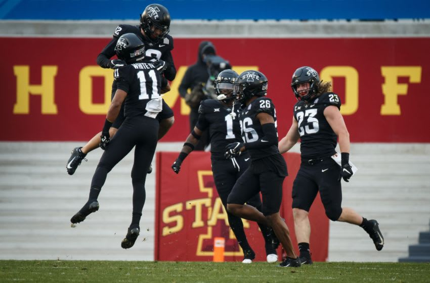 Nov 21, 2020; Ames, Iowa, USA; The Iowa State defense celebrates a stop on 4th and goal during their football game against Kansas State at Jack Trice Stadium. Mandatory Credit: Brian Powers-USA TODAY Sports