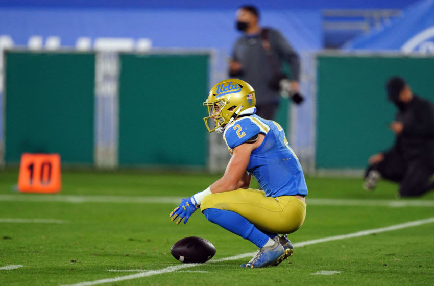 Dec 12, 2020; Pasadena, California, USA; UCLA Bruins wide receiver Kyle Philips (2) reacts at the end of the game against the Southern California Trojans at Rose Bowl. USC defeated UCLA 43-38. Mandatory Credit: Kirby Lee-USA TODAY Sports