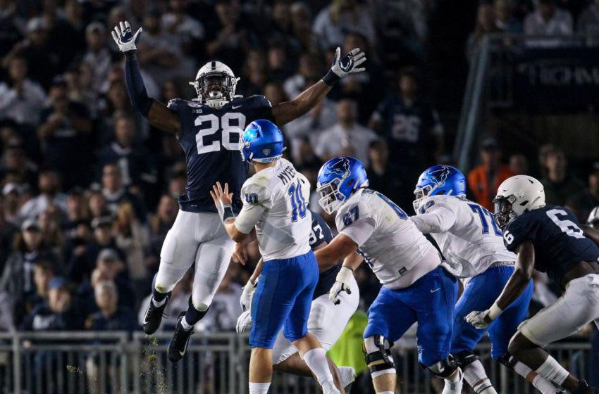 Jayson Oweh, Penn State Football. Mandatory Credit: Matthew O'Haren-USA TODAY Sports