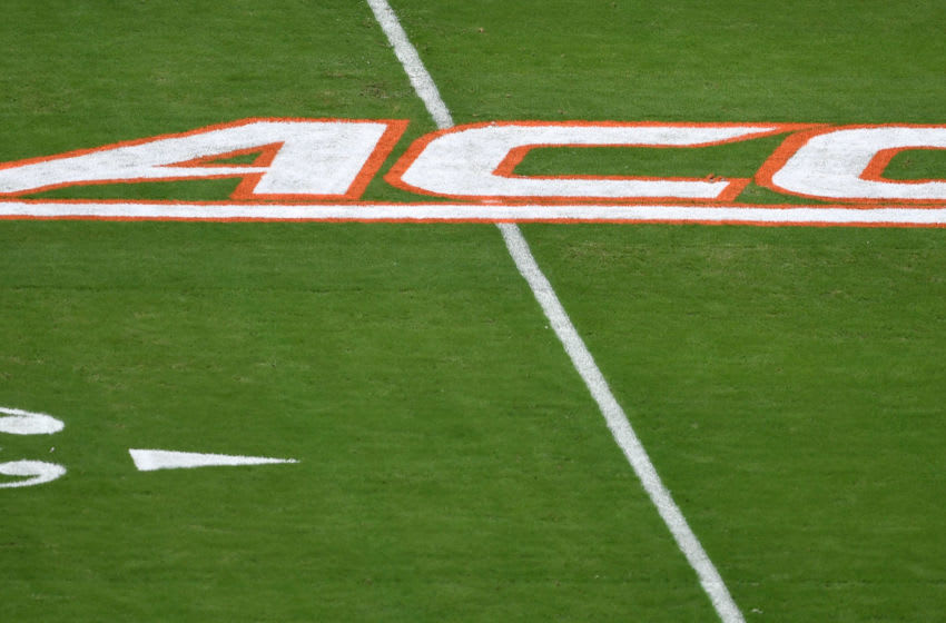 Oct 5, 2019; Miami Gardens, FL, USA; An ACC logo is seen on the field before a game between the Virginia Tech Hokies and the Miami Hurricanes at Hard Rock Stadium. Mandatory Credit: Steve Mitchell-USA TODAY Sports