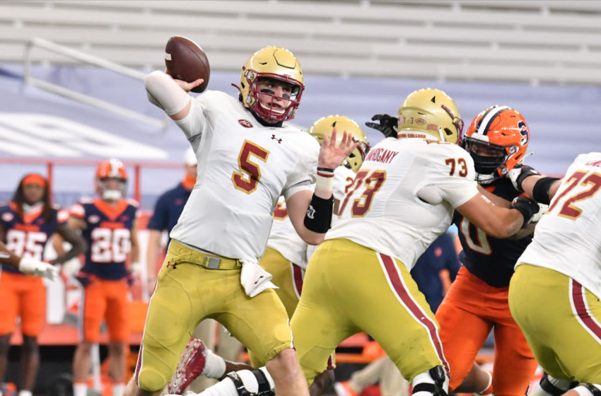 Nov 7, 2020; Syracuse, New York, USA; Boston College Eagles quarterback Phil Jurkovec (5) throws a pass in the second quarter against the Syracuse Orange at the Carrier Dome. Mandatory Credit: Mark Konezny-USA TODAY Sports