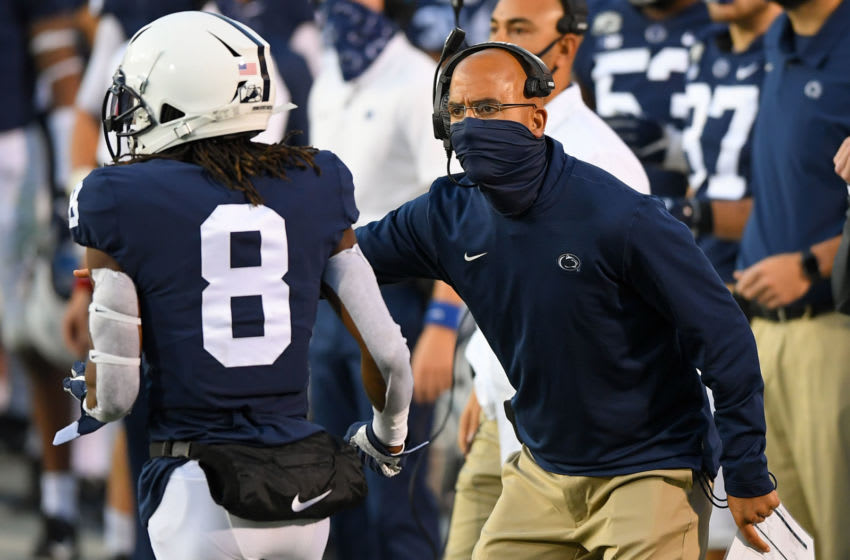 Nov 7, 2020; University Park, Pennsylvania, USA; Penn State Nittany Lions head coach James Franklin reacts to a play against the Maryland Terrapins during the second quarter at Beaver Stadium. Mandatory Credit: Rich Barnes-USA TODAY Sports