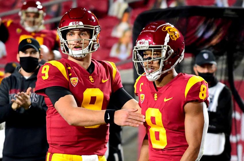 Kedon Slovis and Amon-Ra St. Brown, USC football. Mandatory Credit: Jayne Kamin-Oncea-USA TODAY Sports