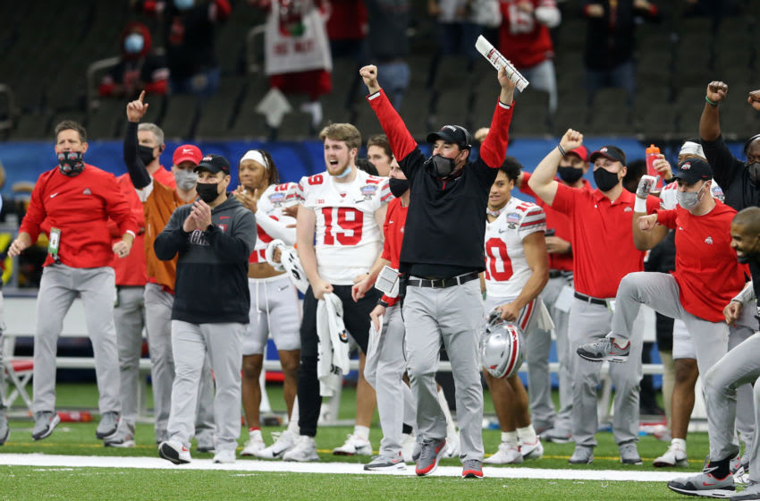 Jan 1, 2021; New Orleans, LA, USA; Ohio State Buckeyes head coach Ryan Day reacts during the second half against the Clemson Tigers at Mercedes-Benz Superdome. Mandatory Credit: Chuck Cook-USA TODAY Sports