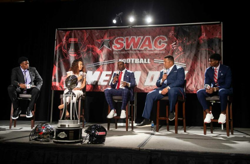 Jackson State University head football coach Deion Sanders speaks to media during the Southwestern Athletic Conference annual Football Media Day at the Sheraton-Birmingham Hotel in Birmingham, Ala., Tuesday, July 20, 2021. Swac Media Day33