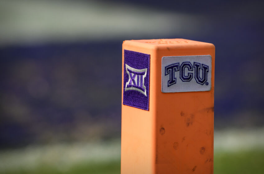 Sep 11, 2021; Fort Worth, Texas, USA; A view of the Big 12 and TCU logo on a touchdown pylon during the game between the TCU Horned Frogs and the California Golden Bears at Amon G. Carter Stadium. Mandatory Credit: Jerome Miron-USA TODAY Sports