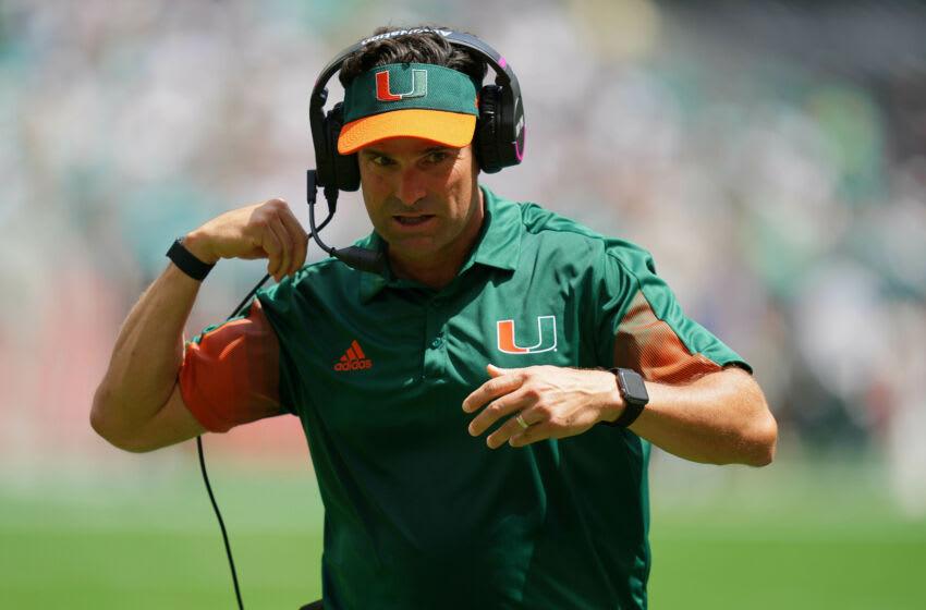 Manny Diaz, Miami Football. Mandatory Credit: Jasen Vinlove-USA TODAY Sports