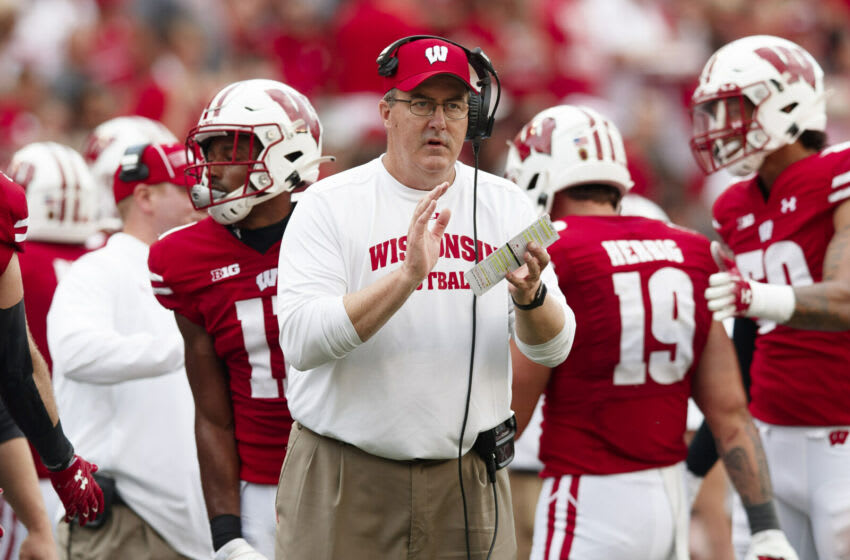 Oct 2, 2021; Madison, Wisconsin, USA; Wisconsin Badgers head coach Paul Chryst reacts to a play during the third quarter against the Michigan Wolverines at Camp Randall Stadium. Mandatory Credit: Jeff Hanisch-USA TODAY Sports