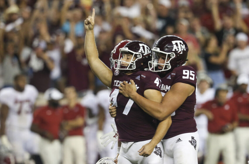 Oct 9, 2021; College Station, Texas, USA; Texas A&M Aggies punter Nik Constantinou (95) celebrates Texas A&M Aggies place kicker Seth Small (47) 28 yard game game winning field goal against the Alabama Crimson Tide in the fourth quarter at Kyle Field. Mandatory Credit: Thomas Shea-USA TODAY Sports