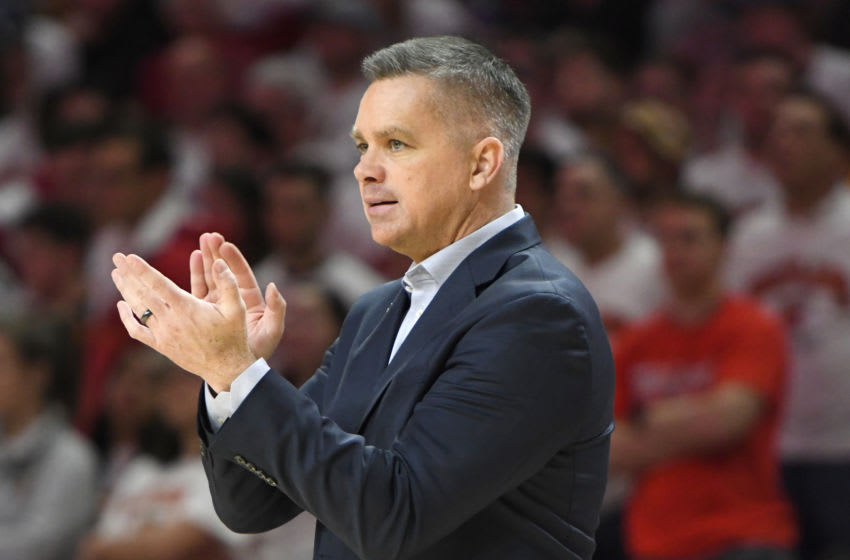 COLLEGE PARK, MD - FEBRUARY 23: Head coach Chris Holtmann of the Ohio State Buckeyes looks on during a college basketball game against the Maryland Terrapins at the XFinity Center on February 23, 2019 in College Park, Maryland. (Photo by Mitchell Layton/Getty Images)