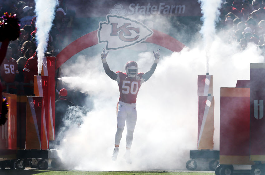 KANSAS CITY, MISSOURI - OCTOBER 13: Darron Lee #50 of the Kansas City Chiefs is introduced before the game against the Houston Texans at Arrowhead Stadium on October 13, 2019 in Kansas City, Missouri. (Photo by Jamie Squire/Getty Images)